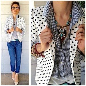 J. CREW Classic Schoolboy Blazer Dotted Linen BB40